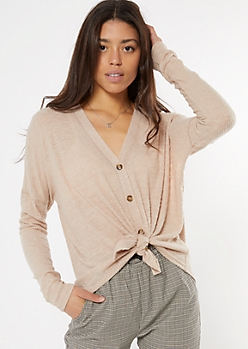 Taupe Ribbed Knit Button Down Top