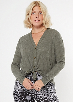 Olive Ribbed Knit Button Down Top