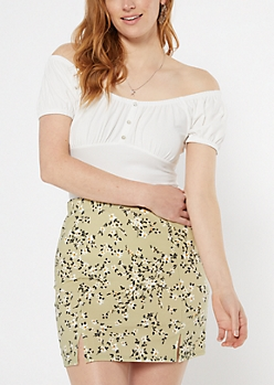 Ivory Off The Shoulder Ruched Peasant Top