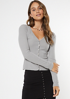 Gray Super Soft Ribbed Knit Cardigan