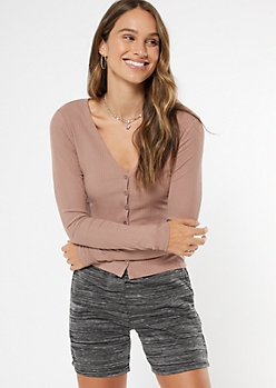 Taupe Super Soft Ribbed Knit Cardigan