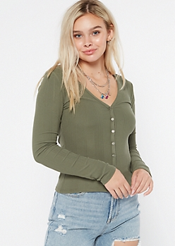 Olive Super Soft Ribbed Knit Cardigan