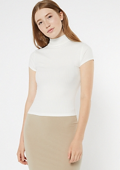 Ivory Mock Neck Super Soft Ribbed Top