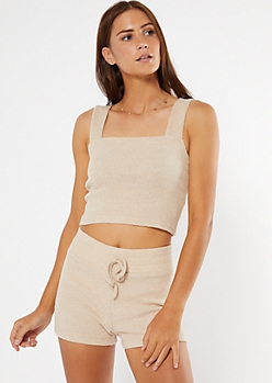 Taupe Square Neck Super Soft Hacci Crop Top
