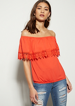 Red Crochet Foldover Off The Shoulder Blouse