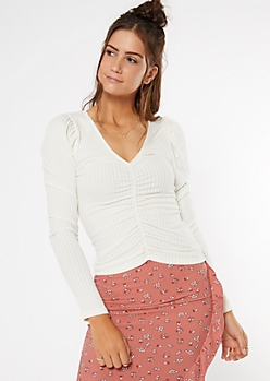 Ivory Ribbed Knit Puff Sleeve Top
