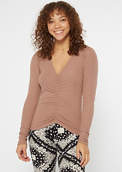 Brown Ribbed Knit Puff Sleeve Top