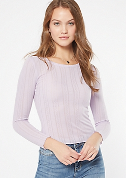 Purple Pointelle Crew Neck Long Sleeve Tee