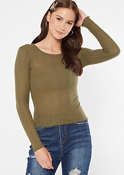 Olive Pointelle Crew Neck Long Sleeve Tee