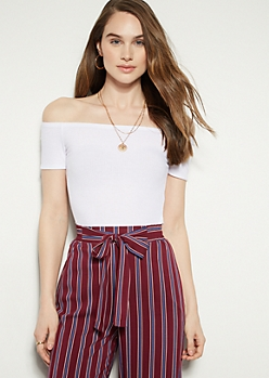 White Ribbed Knit Off The Shoulder Tee