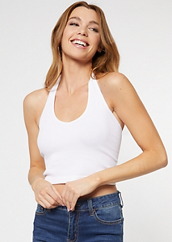 White Ribbed Knit Halter Tank Top