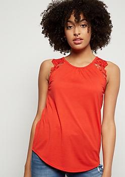 Red Crochet Shoulder Tank Top