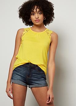 Yellow Crochet Shoulder Tank Top