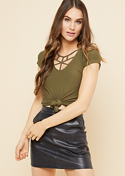 Olive Strappy V Neck Fitted Tee
