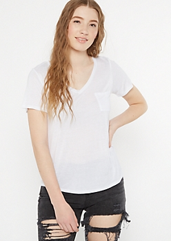 White Pocket V Neck Favorite Tee