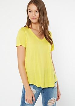 Bright Yellow Pocket V Neck Favorite Tee