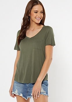 Olive High Low V Neck Tee