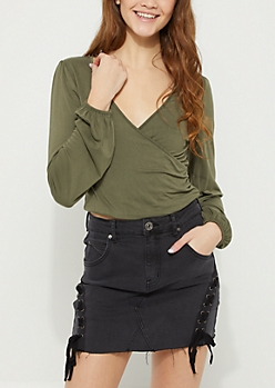Olive Surplice Wrapped Top