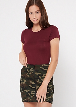 Burgundy Cap Sleeve Pocket Tee