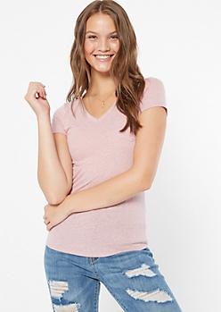 Pink Triblend V Neck Fitted Pocket Tee