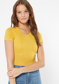 Mustard Soft Fitted Pocket Tee