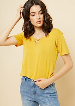 Mustard Lattice Neck Skimmer Tee