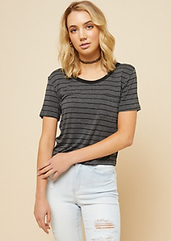 Charcoal Gray Striped Strappy Back Pocket Tee