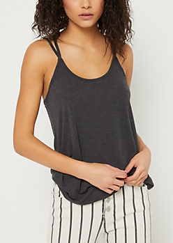 Black Washed Strappy Cami