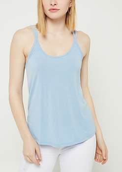 Light Blue Washed Strappy Tank Top