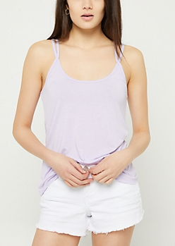 Light Purple Washed Strappy Cami