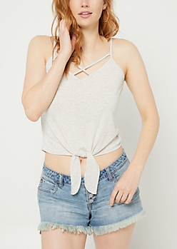 Light Gray Tie Front Crossing Strap Tank Top