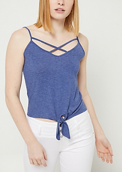 Blue Tie Front Crossing Strap Tank Top
