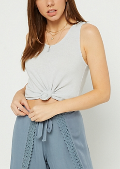 Gray Speckled Lace Up Back Tank Top