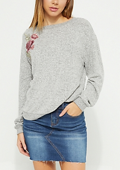 Heather Gray Hacci Knit Embroidered Rose Top