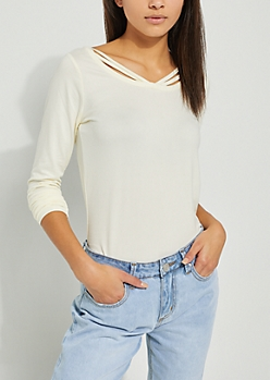 Strappy Ivory Embroidered Stripe Top