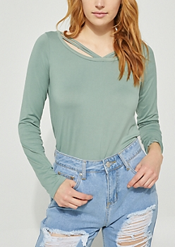 Strappy Green Embroidered Stripe Top