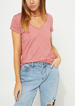 Light Pink Washed Choker Neck Tee