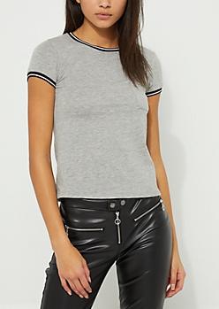 Gray Pocket Striped Ringer Knit Tee