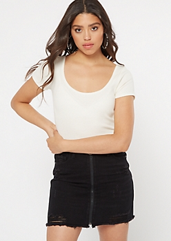 White Scoop Neck Top
