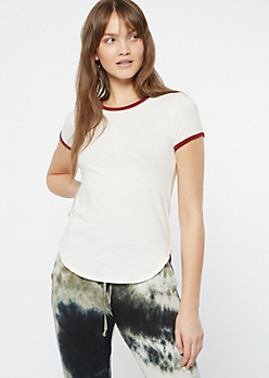 White Essential Ringer Tee