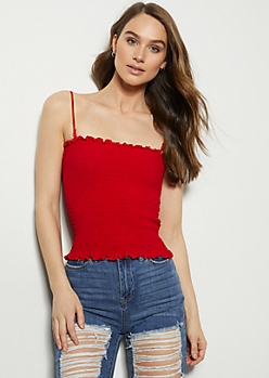 Red Smocked Cami Tank Top