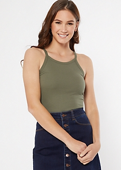 Olive Ribbed Knit High Neck Tank Top