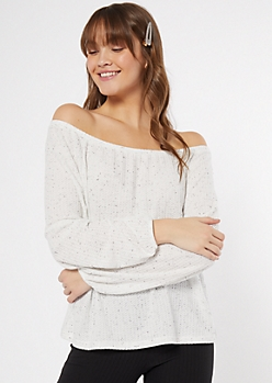 Ivory Speckled Off The Shoulder Waffle Knit Top