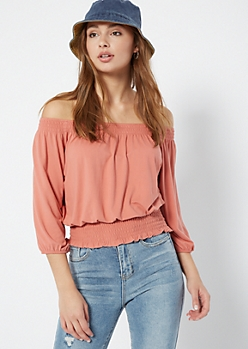 Pink Off The Shoulder Bubble Sleeve Top