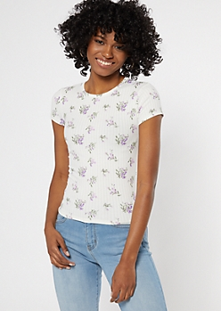 Ivory Floral Print Ribbed Knit Baby Tee