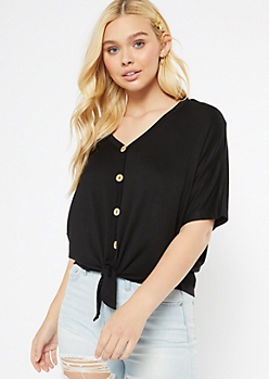 Black Oversized Tie Front V Neck Top