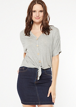 Gray Button Down Tie Front V Neck Top