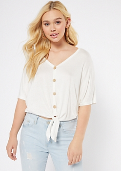 White Oversized Tie Front V Neck Top
