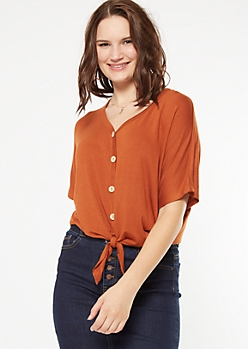 Burnt Orange Button Down Tie Front V Neck Top
