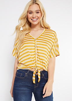 Mustard Striped Oversized Tie Front V Neck Top